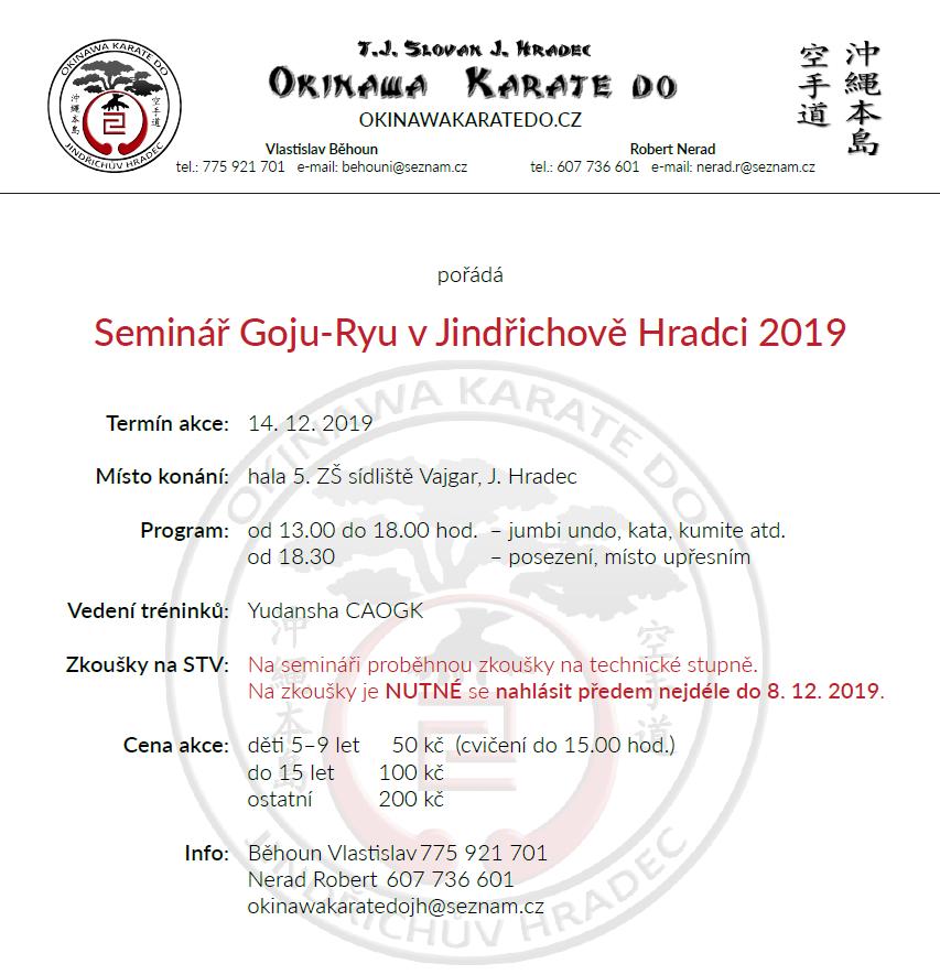 Seminář Goju-Ryu v Jindřichově Hradci 2019